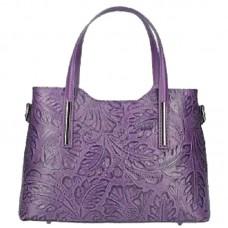 Кожаная женская сумка с тиснением Bottega Carele BC149-purple фиолетовая