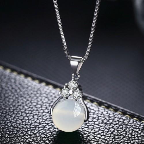 "Кулон ""Сфера"" на цепочке Лунный камень белый"