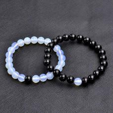 Парные браслеты Агат и Лунный камень голубой