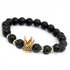 Браслет из Вулканической Лавы с золотой короной в камнях
