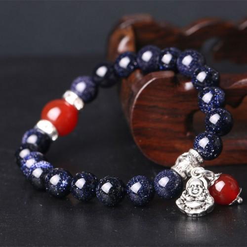 Браслет из натурального камня Авантюрин синий с пером