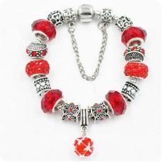 Браслет Pandora с цепочкой красный