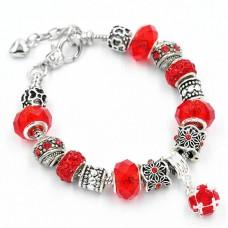 Браслет Pandora с подвеской красный