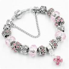 Браслет с шармами Shine розовый