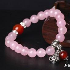 Браслет из натурального камня Кварц розовый с Буддой