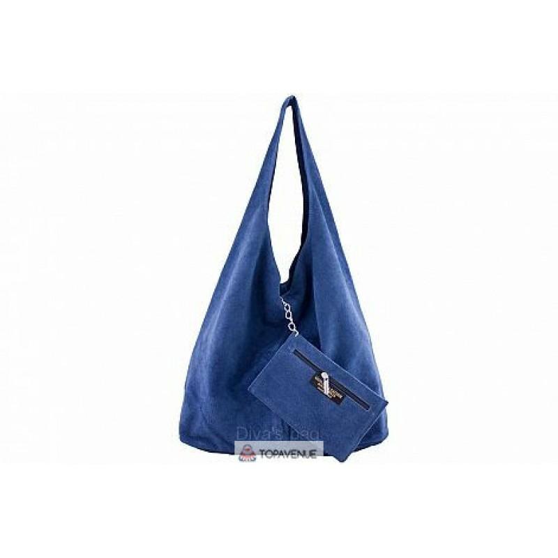 e6d709fbef13 Женская замшевая сумка MONICA(BS15206) синяя DIVAS из Италии