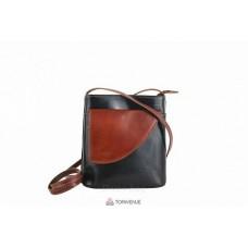 Женская кожаная сумка Dotty (TR964) черная с коричневым