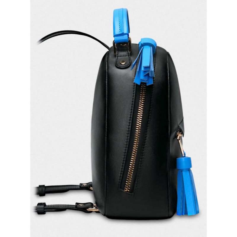 f571d0c76125 Женский кожаный рюкзак Zaino 027/0-660/T черный с голубым — купить в ...