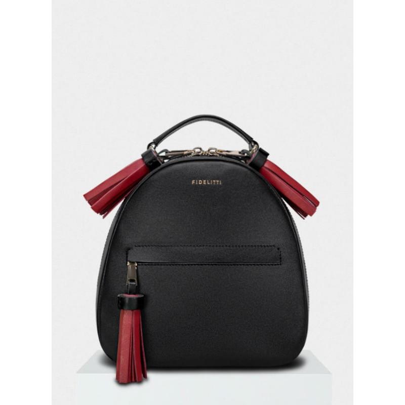 6ba4b3d08f5f Женский кожаный рюкзак Zaino 027/0-850/T черный с красным — купить в ...