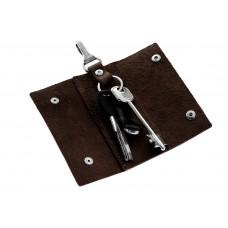 Ключница на кнопках Grande Pelle 405120 матовая кожа шоколад