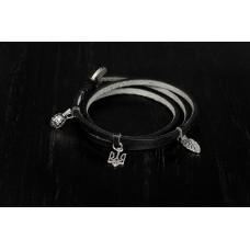 Браслет шнурок тризуб Grande Pelle 4841 черный