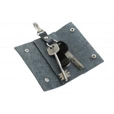Ключница на кнопках Grande Pelle 405175 матовая кожа голубая