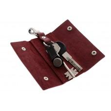 Ключница на кнопках Grande Pelle 405161 матовая кожа бордо