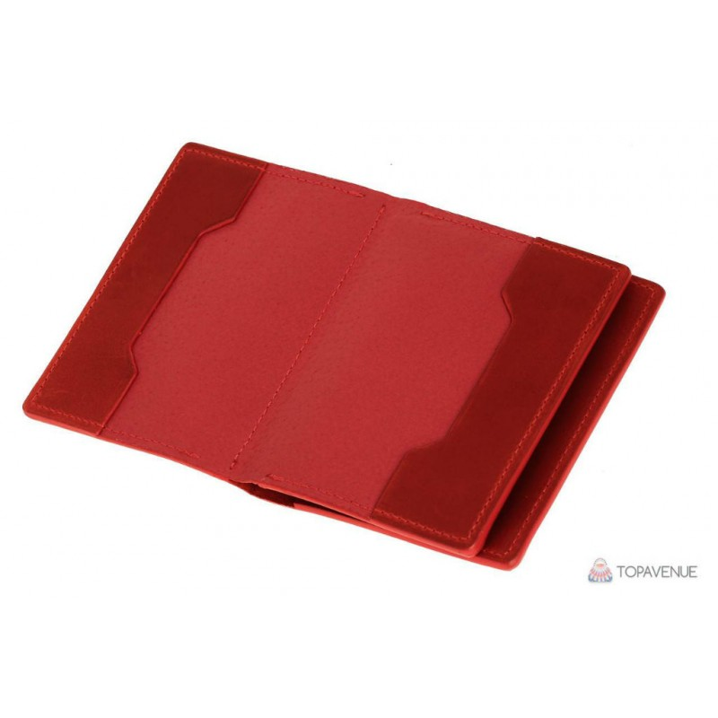a27744125fd0 Обложка для документов, паспорта, автодокументов с отделом для карт Grande  Pelle 212160 красная (матовая)