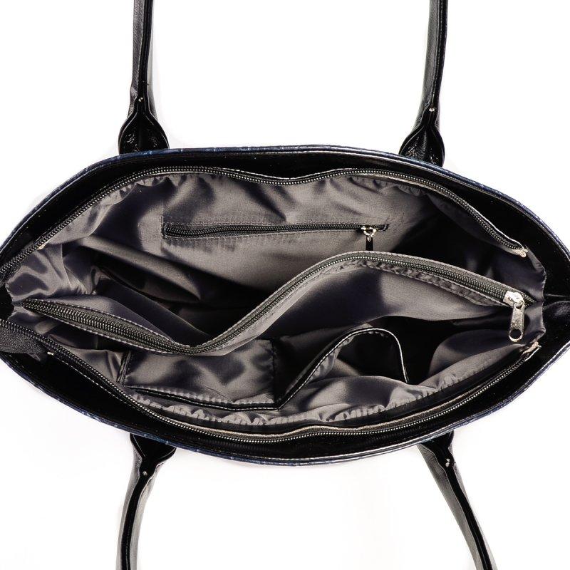 b52016da9ef2 Женская сумка под кожу крокодила Камелия М64-11/Z синяя+черный от ...