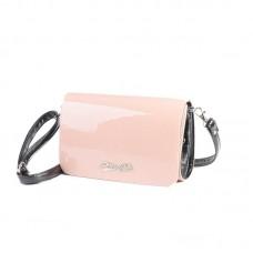 Женский лаковый клатч Камелия М63-80/Z розовый(пудра)+черный