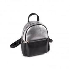 Женский маленький рюкзак Камелия М160-47/72 черный+серебряный