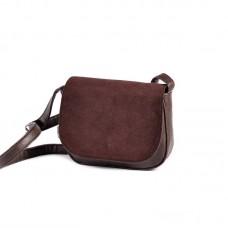 Женская сумочка с замшевым клапаном Камелия М55-40/замш коричневая