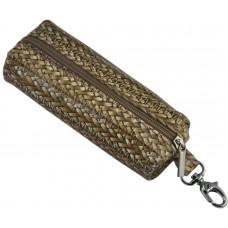 Ключница кожаная Poche плетение бежевая