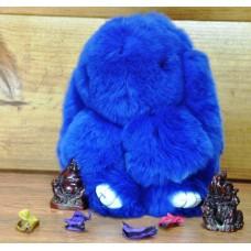 Брелок кролик из меха синий