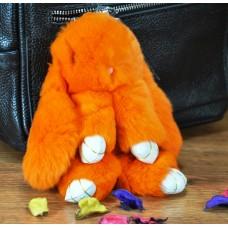 Брелок кролик из меха оранжевый