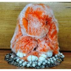 Брелок кролик з хутра оранжевий з білим