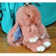 Брелок кролик из меха персиковый
