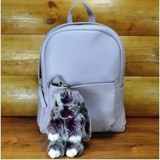 Брелок кролик з хутра фіолетовий з білим