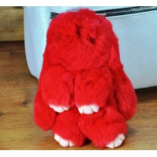 Брелок кролик из меха красный