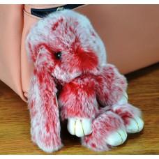Брелок кролик з хутра червоний з білим