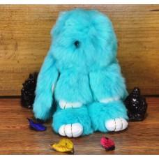 Брелок кролик из меха бирюзовый