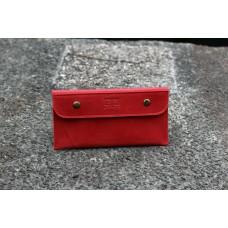 """Кожаный кошелек """"Конверт"""" красный"""