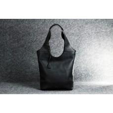 """Кожаная женская сумка """"Пакет S Up"""" черная"""