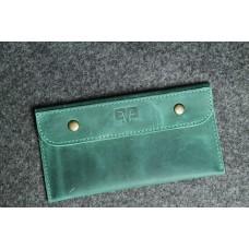 """Кожаный кошелек """"Конверт"""" зеленый"""