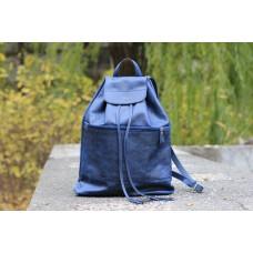 """Кожаный рюкзак """"Груша"""" синяя"""