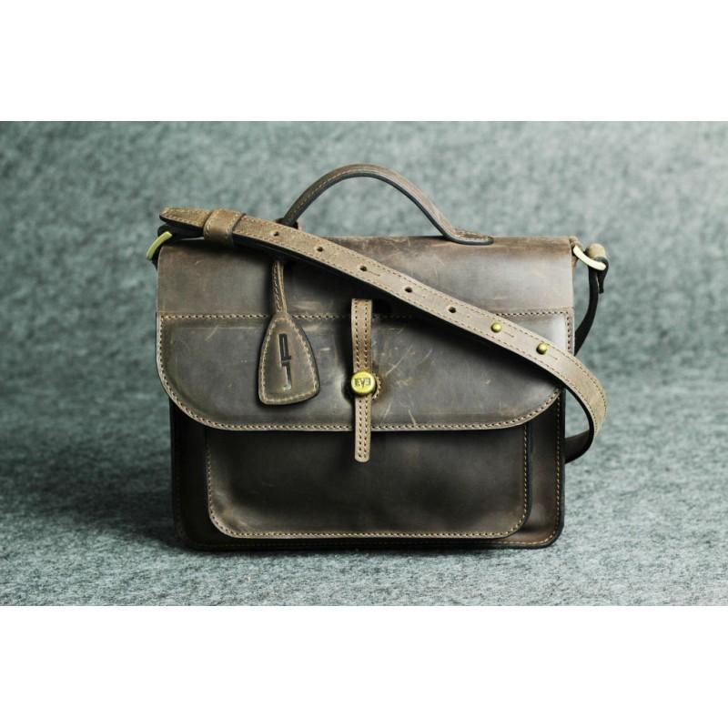 2efad6c5c934 Женская кожаная сумка Фейк S Up коричневая — дизайнерская сумка ...