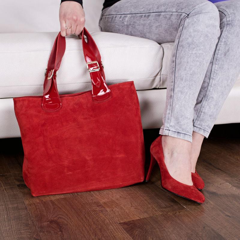 041454185053 Сумка женская замшевая 90037 красная - купить недорого от бренда MARA