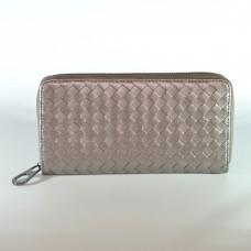 Жіночий шкіряний гаманець плетіння бронзовий