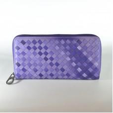 Жіночий шкіряний гаманець плетіння фіолетовий