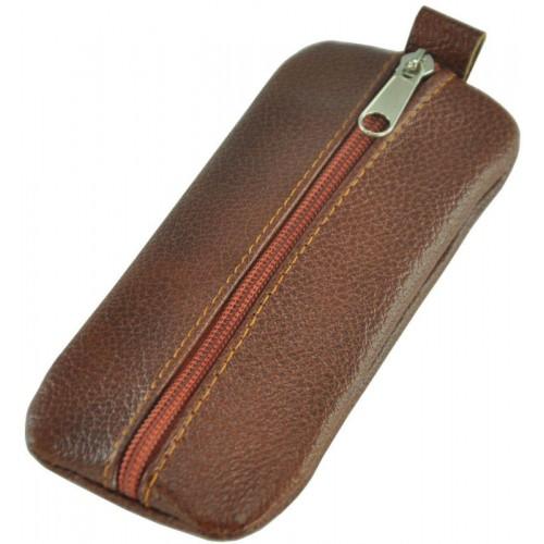Кожаная ключница широкая Medium коричневая