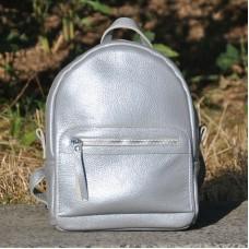 Кожаный рюкзак Meri серебро