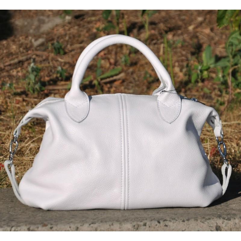 a1bb929710de ᐉ Кожаная женская сумка Барселона белая купить в Киеве и Украине