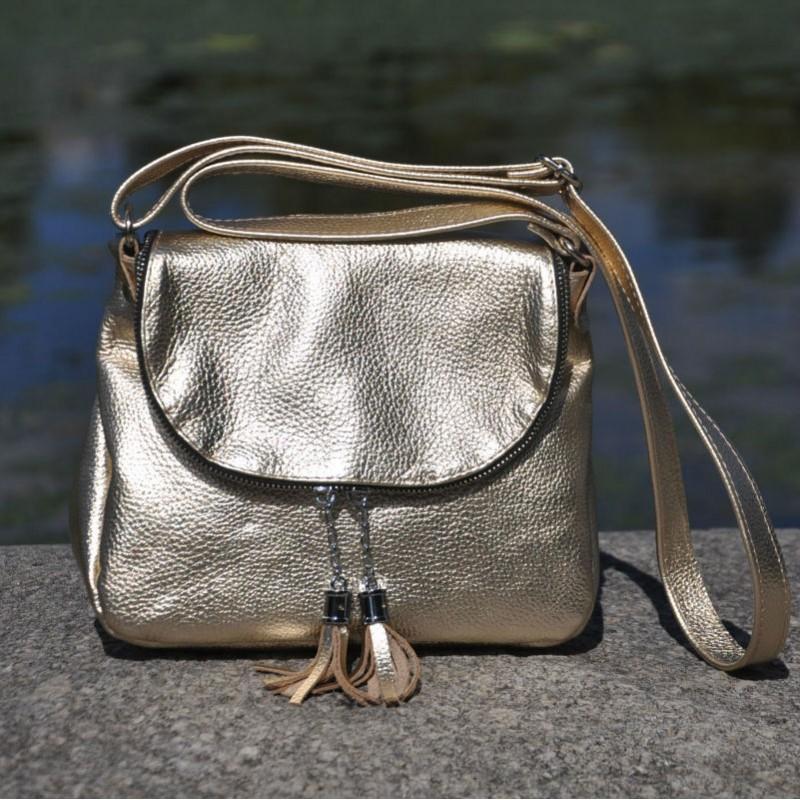 f0136c08928b ᐉ Женская кожаная сумка Марсель золотая купить в Киеве и Украине