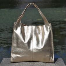 Женская кожаная сумка Mesho золотая