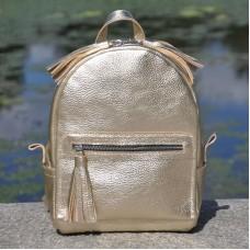 Женский кожаный рюкзак Meri золотой