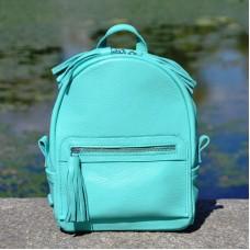 Женский кожаный рюкзак Meri бирюзовый