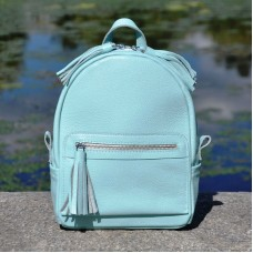 Женский кожаный рюкзак Meri голубой