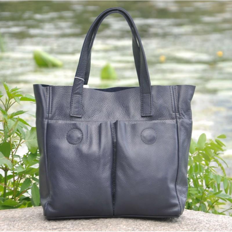 4ed367665f46 Женская кожаная сумка с карманами темно-синяя — купить в интернет ...
