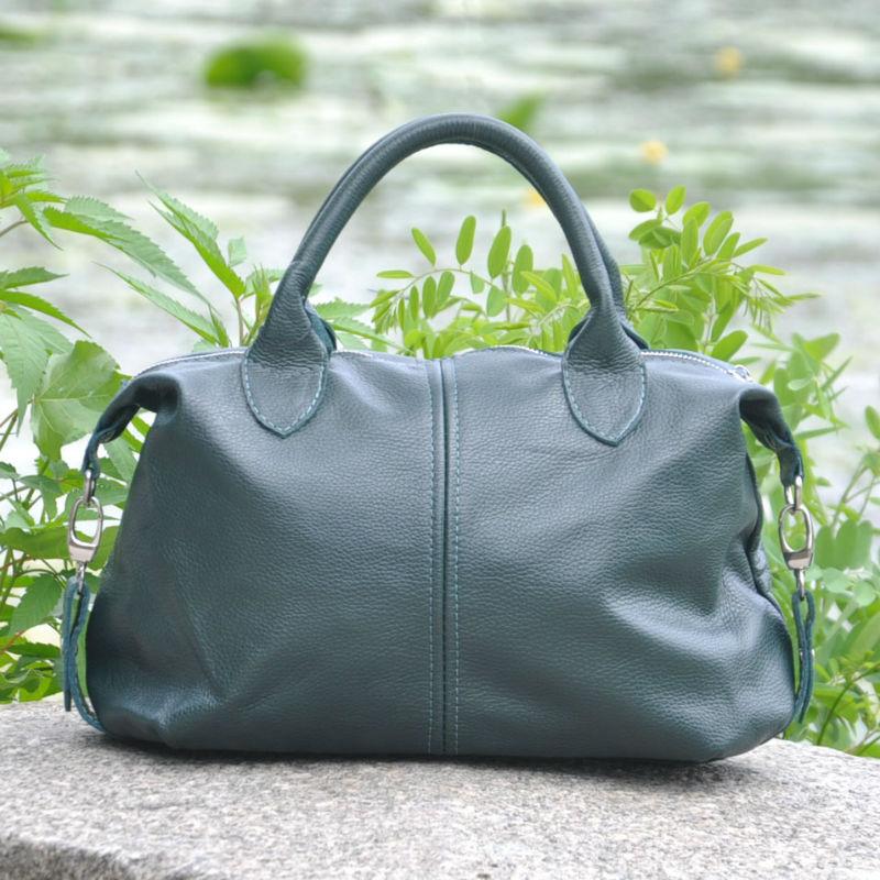 a8501c0ff1cd ᐉ Кожаная женская сумка Барселона зеленая купить в Киеве и Украине