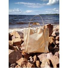 Кожаная сумка Shopp золотистая